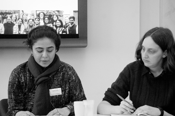 Ph. D Students Sarah with her paper_s discussant, Naghma at University of Edinburgh