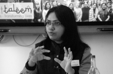 Shailly Ph.D student from Ambedkar University presenting her views